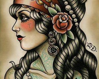 Gypsy Tattoo Art Print