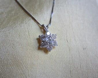 Petite White Sapphire SnowFlake Pendant