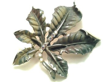 vintage costume jewelry brooch pin enamel large leaf crystal