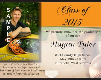 "Graduation ""Baseball theme "" Announcement or Invitation ""printable"