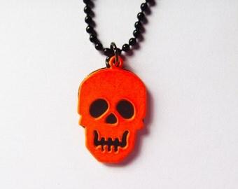 Halloween Neon Orange Skull Necklace
