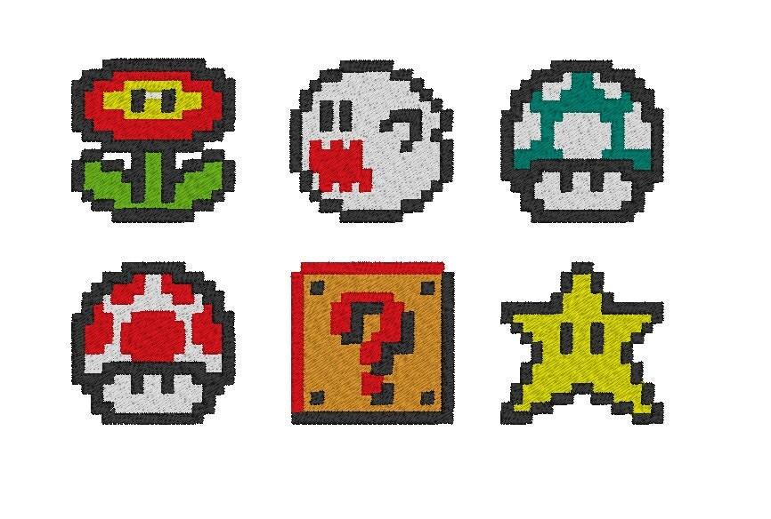 LAST ONE Mario Pixel Art Embroidery Design