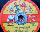 HAPPY POLKA Banana Boat Song 1950s 78 RPM Record for display or play Cricket Records Cutest Graphics