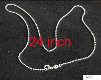 20pcs 24inch 1mm silver plated ball chain necklace jewelry