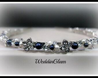 Crystal navy blue wedding headband, bridal hair accessories, blue flower headband, Fall wedding headband, flowergirl headband