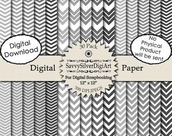 Gray Chevron Digital Paper - Instant Download, Gray Paper, Grey Zig Zag, Scrapbook, Invitations, Grey Gray Background Paper
