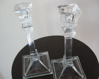 Vintage Tuscany Crystal Candle Holders, Made in USA
