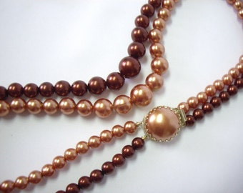 Vintage Brown & Copper Pearly Beaded 2 Strand Necklace Hong Kong