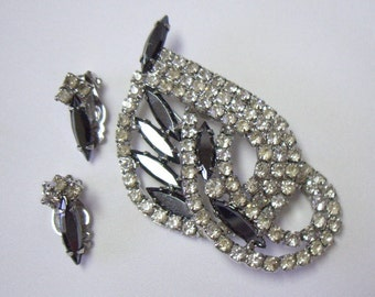 Vintage Hematite Navette and Paved White Rhinestone Brooch Pin Earring Demi Parure Set