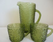 Vintage Anchor Hocking Soreno Set of Pitcher and Cups