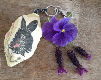 Lavender sachet, hand printed hare hanging, hare keyring