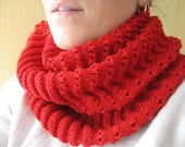 Knitted cowl Neck warmer Circle scarf Snood crimson red Tube scarf Hand knitted