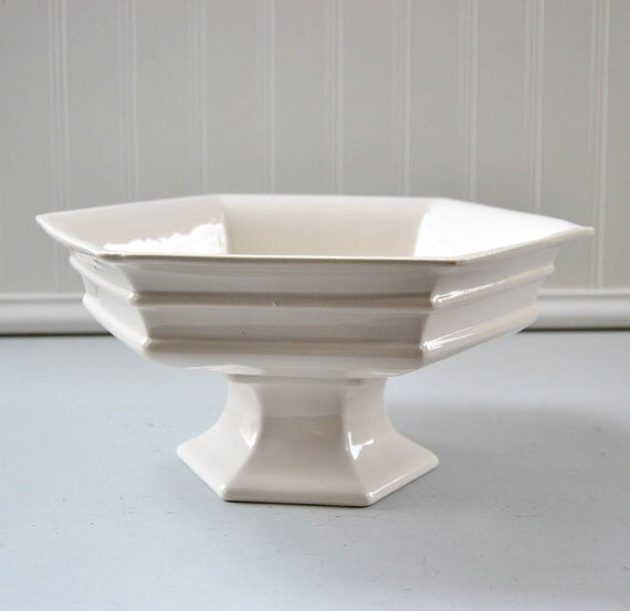 Vintage White Pedestal Planter Fruit Bowl Haeger Usa