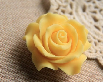 2 pcs of resin rose cabochon 36mm-0284-yellow