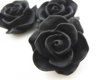 12 pcs Resin Rose cabochon 20mm-RC0049-33-black