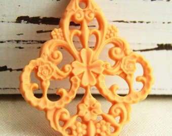6 pcs of german filigree charm 0289-45x55mm11-orange