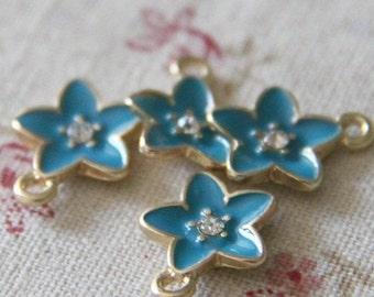 6 pcs of metal star charm with rhinestone-12x12mm-1143-blue