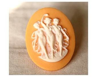 12 pcs of pink rose cameo 30x40mm -RC0155-peach