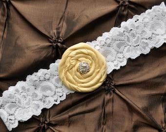 Wedding Garter, Bridal Garter - White Lace Garter, Toss Garter, Rolled Silk Light Yellow, Yellow Wedding Garter, Yellow Bridal Garter
