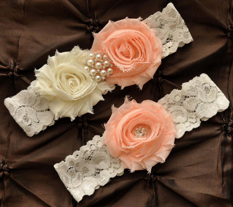 Wedding Garter Bridal Garter Set Ivory Lace Garter