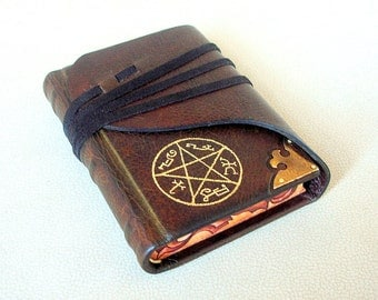 Leather Bound Journal, Sketchbook, Dark Brown Leather, Gilded Pentacle, Custom Symbol, Brass Corner, Gift for Him, Painted Edges