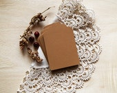 Tag - Set of 20 - Hand punched - Smooth both sides - Kraft Tag - Recycled avana, light brown cardstock - 250 g/m2