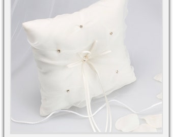 Ivory Organza Rhinestone Ring Pillow