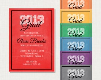 Graduation Party Invitation - Choose Your School Color - Printable