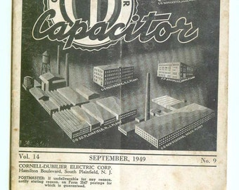 Vintage Cornell-Dubilier Electric Corp CD The Capacitor Magazine Sept 1949 Advertising Collectible