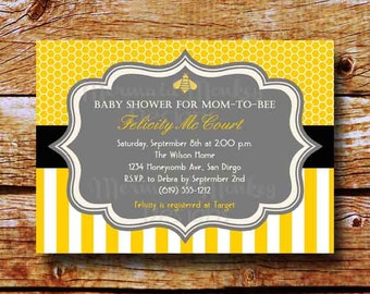 Bumble Bee Baby Shower Invitation, Baby Shower Invite - Yellow Grey Black Honeycomb Stripes - Felicity