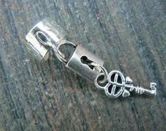 steampunk  ear cuff lock and key  silver cuff lock and key charms in gypsy boho hippie gothic and fantasy style