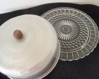 Vintage Cake Plate with Top Cover  Pressed  glass plate with Aluminum cover Retro Kitchen Cake plate