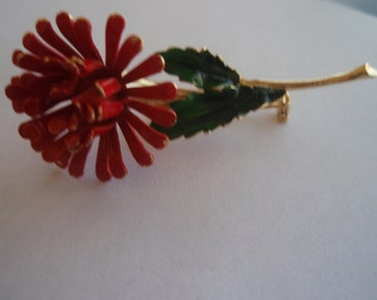 Vintage Red Flower Brooch  Red Flower with green leaves and gold stem Brooch Vintage Collectible Jewelry Pin