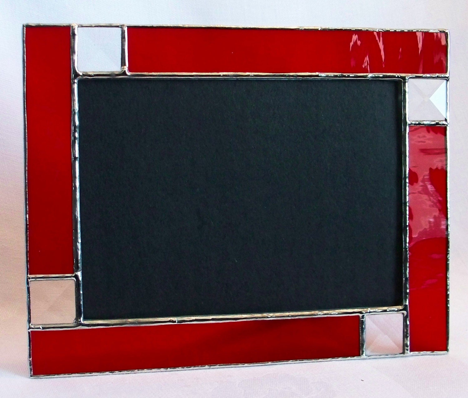 made to order ruby red stained glass picture frame 5x7 with. Black Bedroom Furniture Sets. Home Design Ideas
