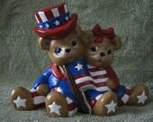 Hand-Painted Original Bisque Ceramic Patriot Bears