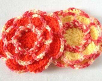 Crochet Flower Brooch, Red Crochet Flower, Pink Marl with Yellow or Red Petal, Large Yarn Flower Pin, Acrylic Wool Flower