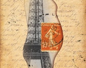 ACEO Motherhood - Digital artwork with vintage French elements (Eiffel tower, old letter, stamp)