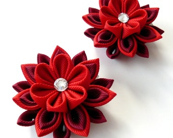 Kanzashi  Fabric Flowers. Set of 2 hair clips.  Red and bordo.