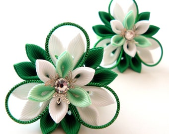 Kanzashi fabric flowers. Set of 2 ponytails . Emerald, mint and white.