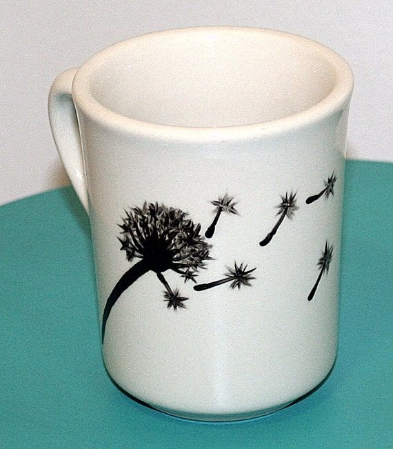 Wind blown dandelion tufts black silhouette hand painted for How to paint ceramic mugs at home