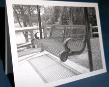 Park Bench Swing, Black and White photo note cards, blank set of six, with envelopes in clear box