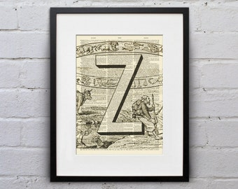 The Letter Z Vintage French Alphabet - Shabby Chic Dictionary Page Book Art Print - DPFA026
