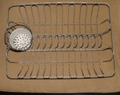 Vintage Wire Tin Dish Drying Rack COUNTER TOP with UNUSUAL Round Utensil Cup