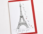 French Valentine Paris Greeting Card - Eiffel Tower  - Love - Romantic - Wedding - Anniversary