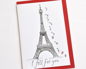 French Valentine Paris Greeting Card - Eiffel Tower  - Love - Romantic - Wedding - Anniversary