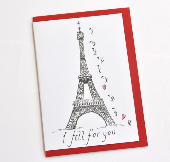 French Valentine Paris Greeting Card Eiffel Tower Love