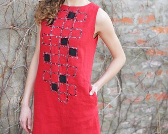 Summer dress | Sleevless  dress | Red dress | Short dress | Pocket dress | Silk decoration | Checkered |Made to order | BengiDesign