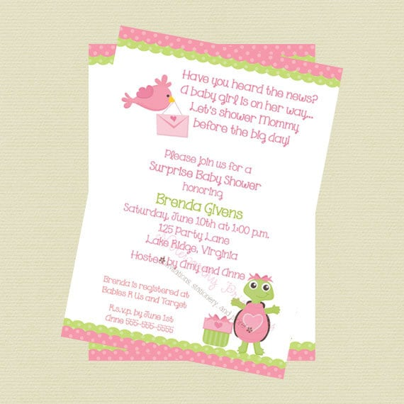 items similar to pink turtle baby shower invitation on etsy
