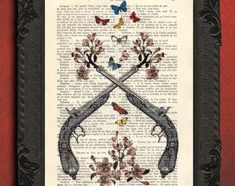 pistols with flowers and butterflies art print gun with flowers print handgun pistol dictionary art print