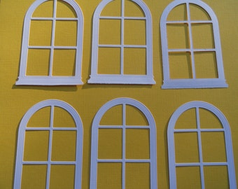 White Grand Madison Die Cut Arched Window set of 8